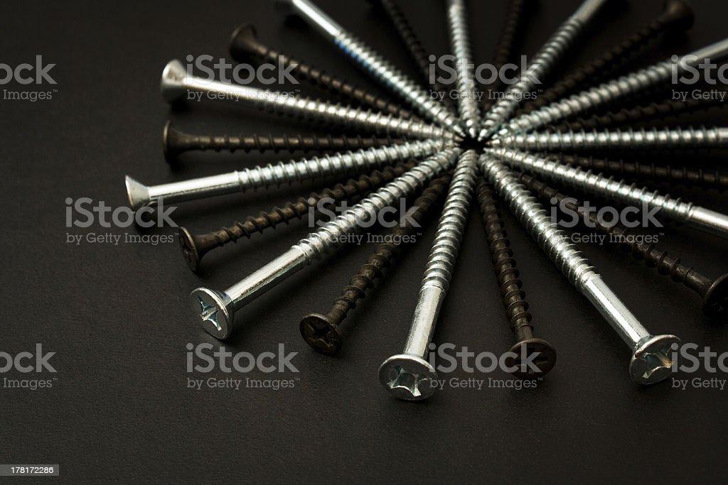 Radial Wood Screws stock photo