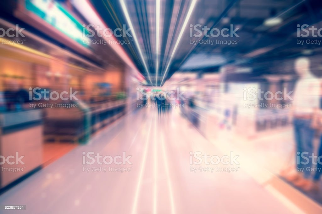 Radial zoom blur image. Shopping mall. Abstract blur background stock photo
