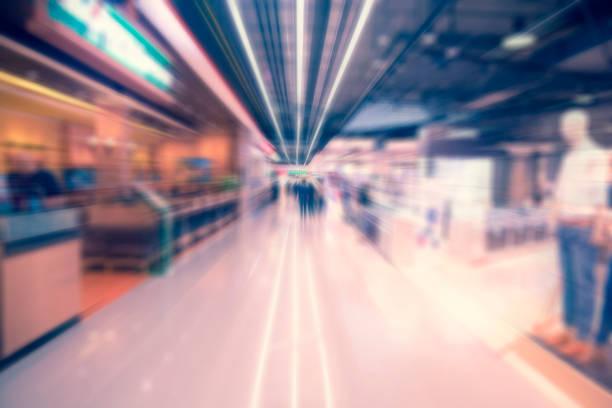 Radiale Zoom blur Bild. Shopping-Mall. Zusammenfassung Hintergrund weichzeichnen – Foto