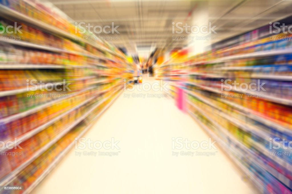 Radial zoom blur image. Supermarket or Department store. Abstract blur background stock photo