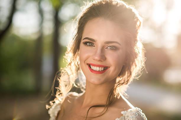 Radiant beautiful bride stock photo