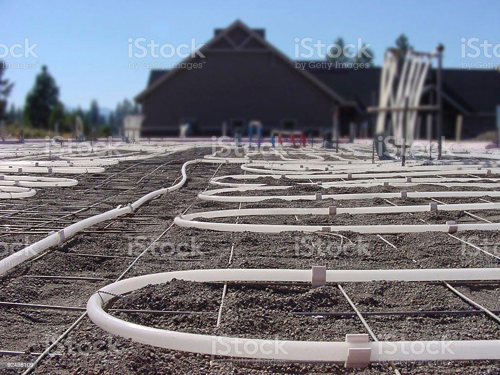 Radiant concrete slab tubing construction royalty-free stock photo