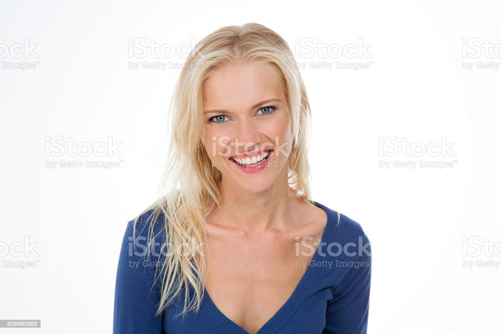 radiant nordic girl in dark blue shirt smiling stock photo