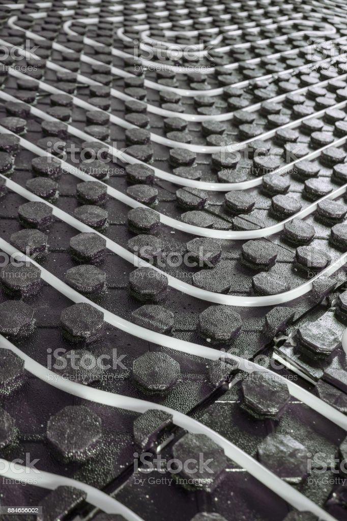 Radiant underfloor heating installation stock photo