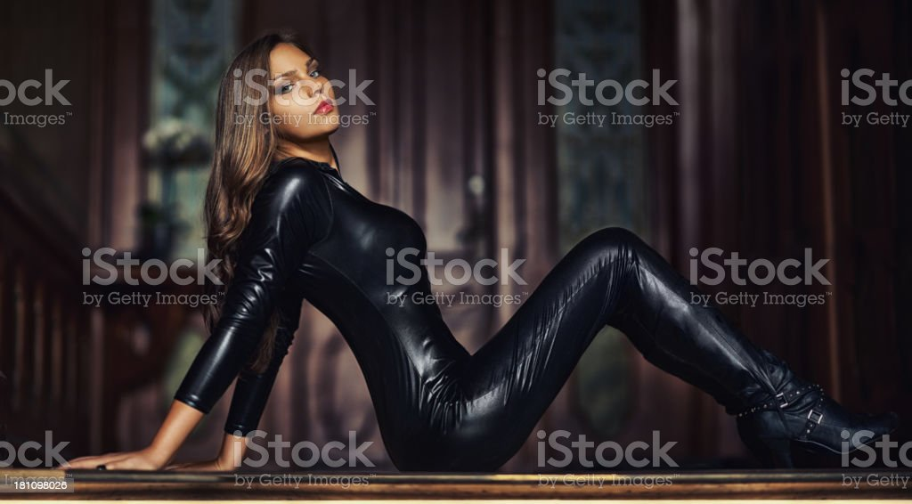 Radiating bad-girl sex appeal stock photo