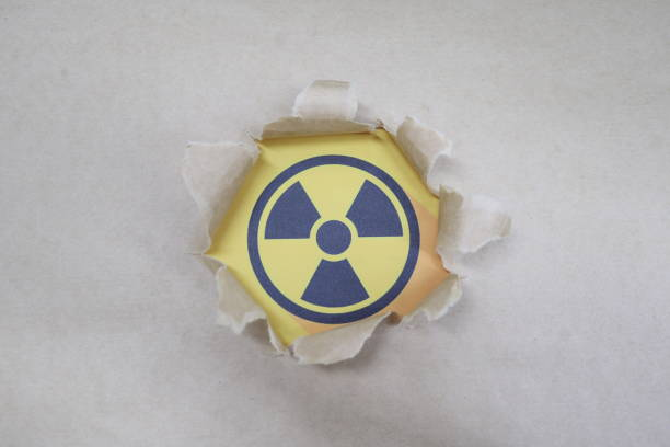 radiation hazard mark Radiation Icon isolated on background, torn paper irradiation stock pictures, royalty-free photos & images