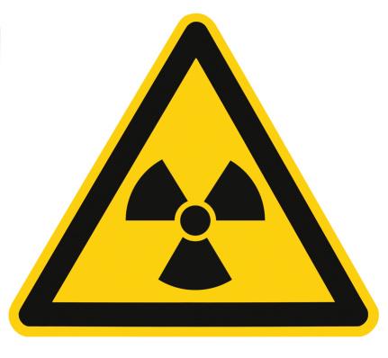 Radiation hazard symbol sign of radhaz threat alert icon, isolated black yellow triangle signage macro