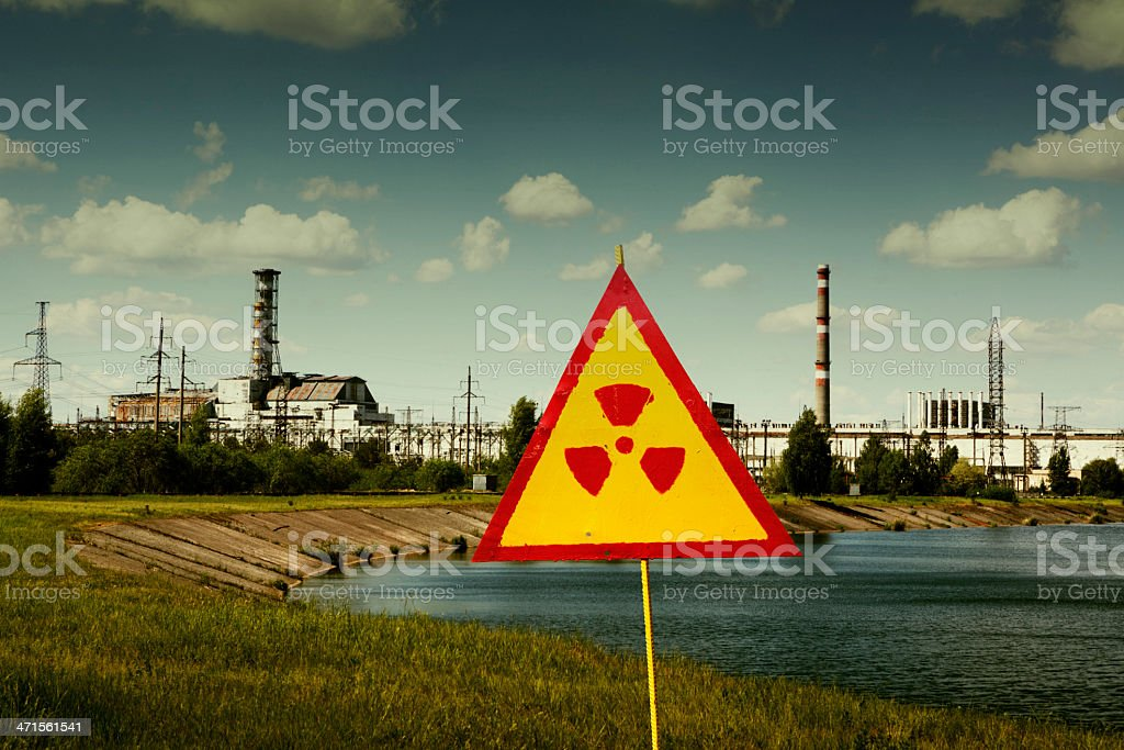 Radiation sign in front of