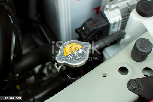 Radiator Cap of radiator cooling system, automotive part concept.