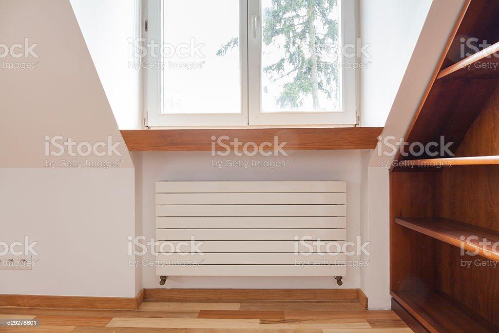 Radiator in cozy room stock photo