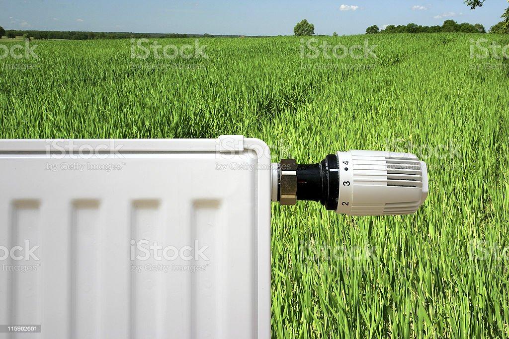 Radiator on a green field stock photo