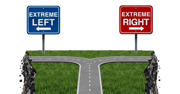 Radical politics and extremism or extreme left and right ideology as a social risk and society danger with 3D illustration elements.