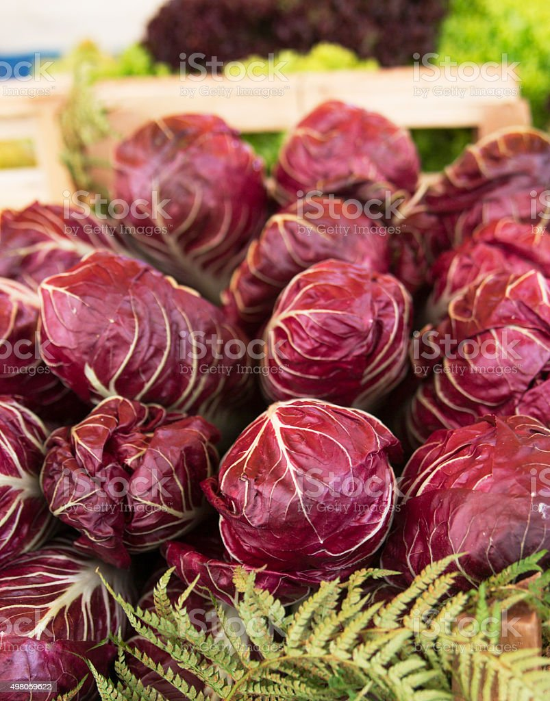 Radicchio, Italian Leaf Chicory in Fresh Vegetable Market Grocery Display stock photo