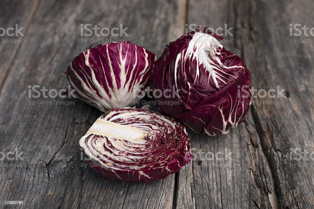 Radicchio on a rustic wooden board stock photo