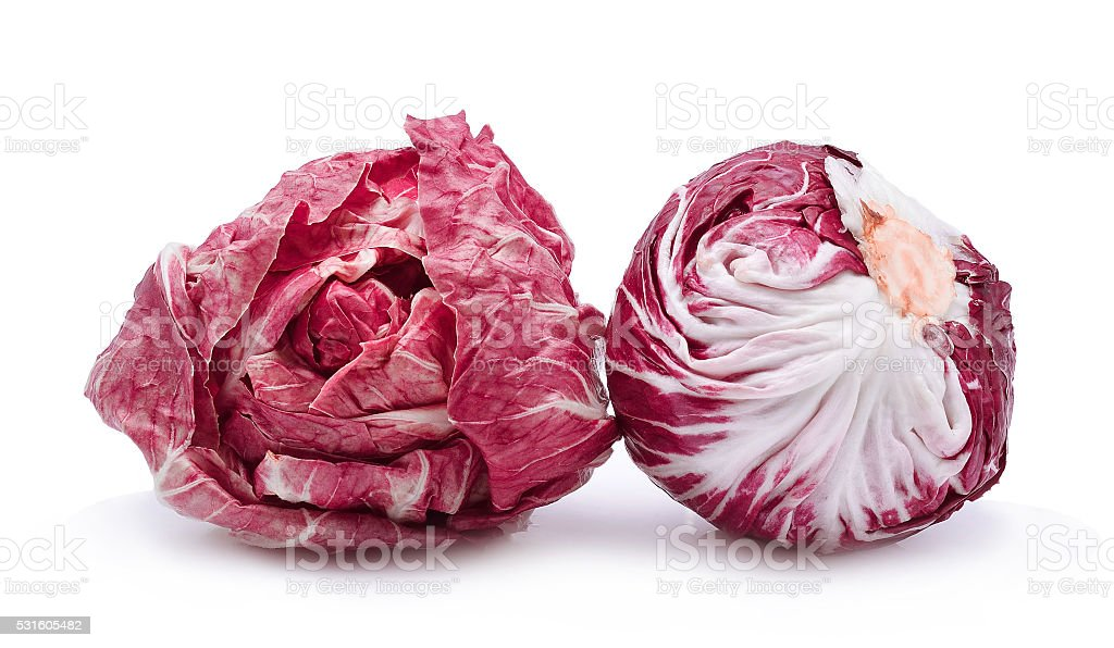 Radicchio, red salad isolate on white background stock photo