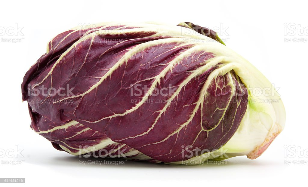 radicchio red salad isolated on white stock photo