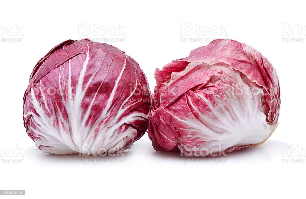 Radicchio, red salad on white background stock photo