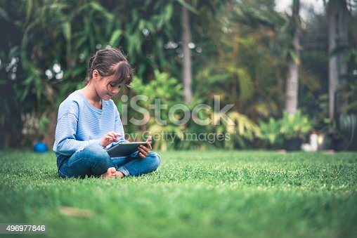 Young girl reading on digital tablet. She is sitting on the grass on the backyard, looking at tablet and smiling.
