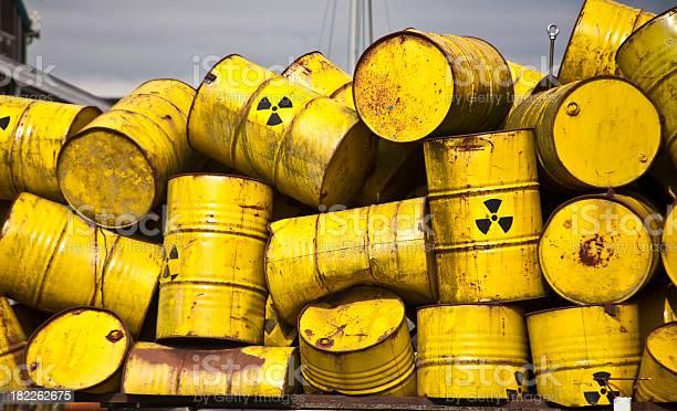 Yellow radiot active waste barrel