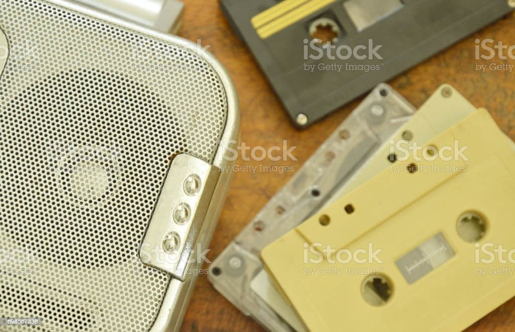 radio and cassette tape recorder on table stock photo