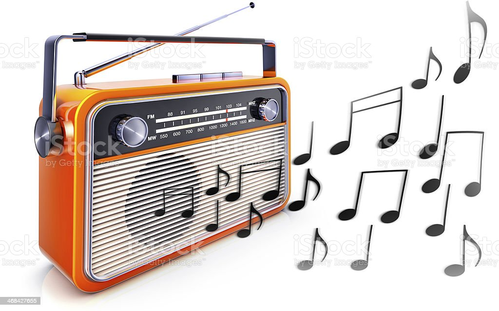 radio and music notes stock photo