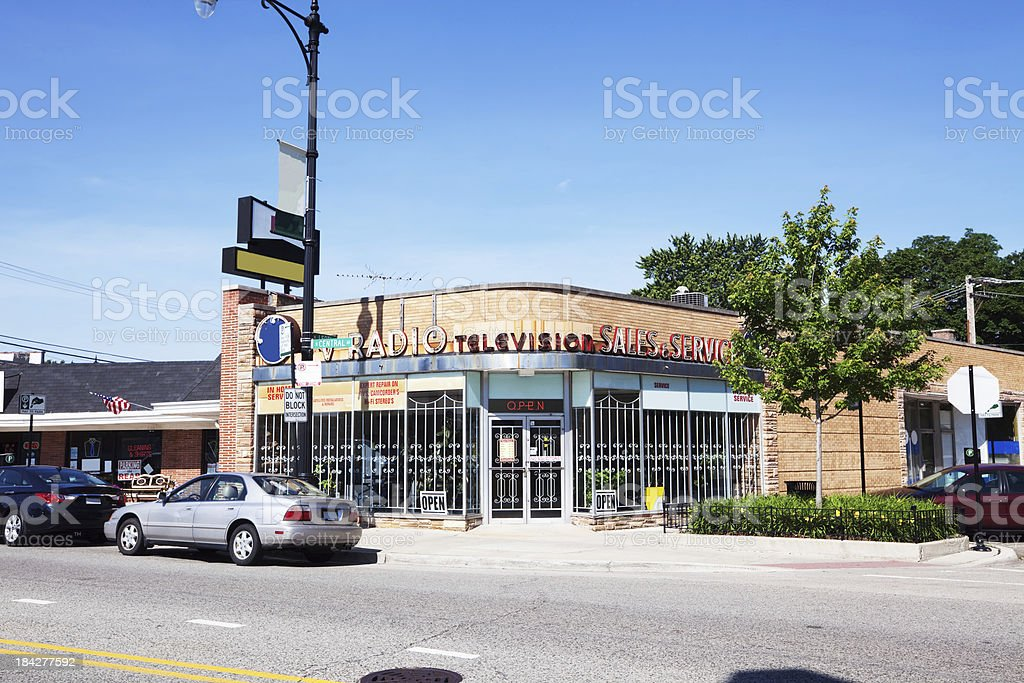 Radio and television repair shop in a Chicago Neighborhood royalty-free stock photo