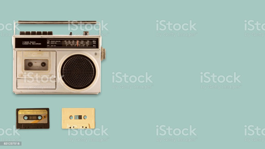 Radio cassette recorder stock photo