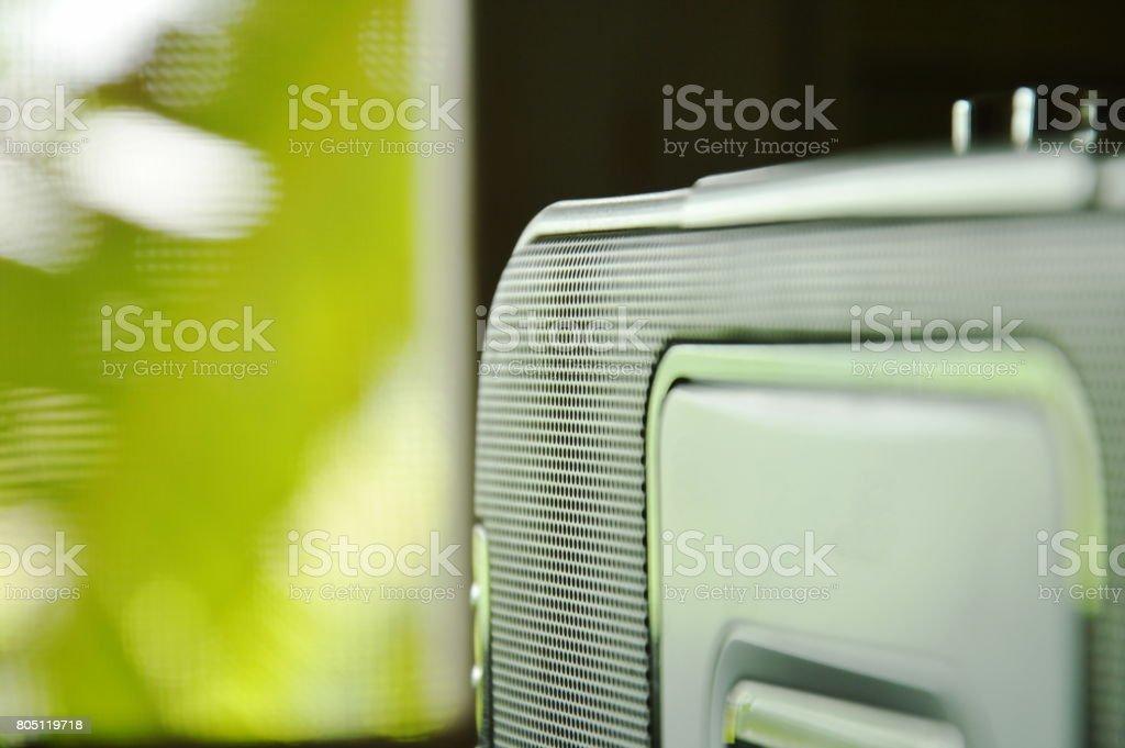 radio cassette tape recorder near window stock photo