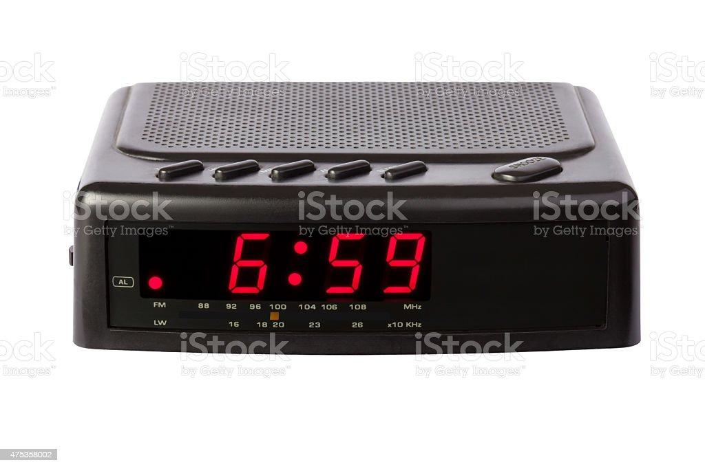 Radio clock on white stock photo