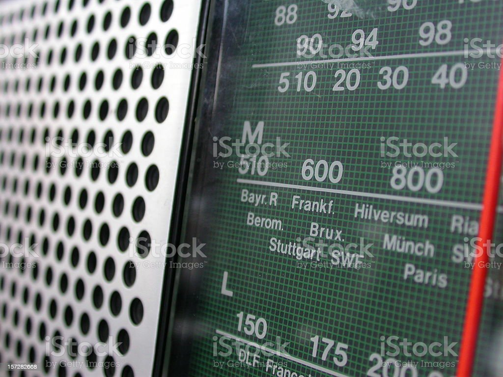 radio close up frequency channels stock photo