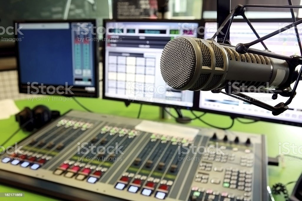 Radio computer and mixer system with air microphone stock photo