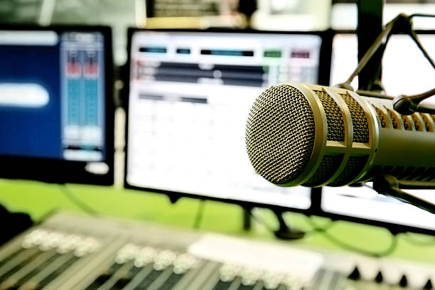 radio computer and mixer system with air microphone - radio station stock photos and pictures