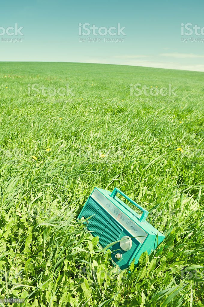 Radio in Field stock photo
