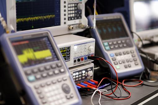 Modern radio laboratory with electronic digital equipment. Selective focus.