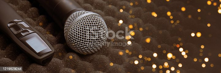 854811490 istock photo radio microphone Item stand on foam grey rubber 1219529244