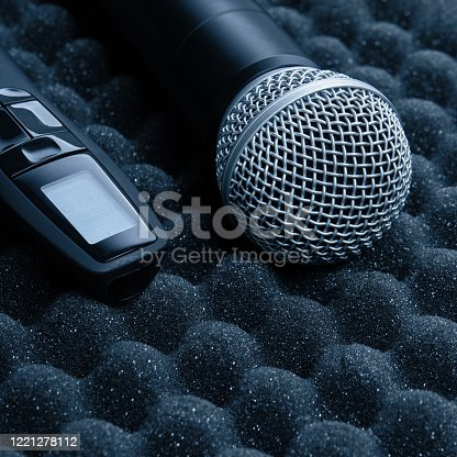 854811490 istock photo radio microphone Item stand on foam grey rubber 1221278112