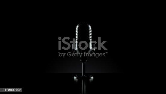Radio microphone on black background. 3d illustration