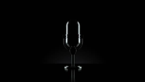 Radio microphone on black background Radio microphone on black background. 3d illustration recording studio stock pictures, royalty-free photos & images