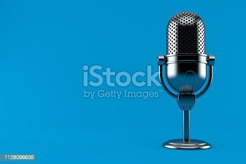 Radio microphone isolated on blue background. 3d illustration