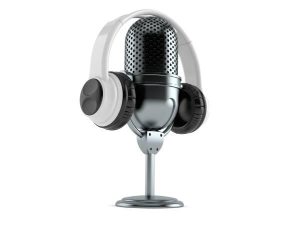 Funkmikrofon mit Kopfhörer – Foto