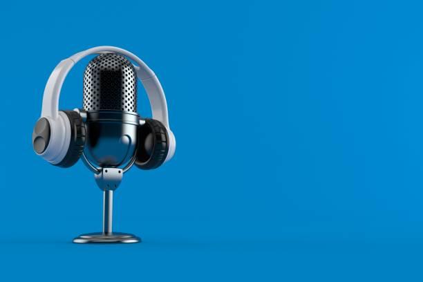 radio microphone with headphones - radio foto e immagini stock