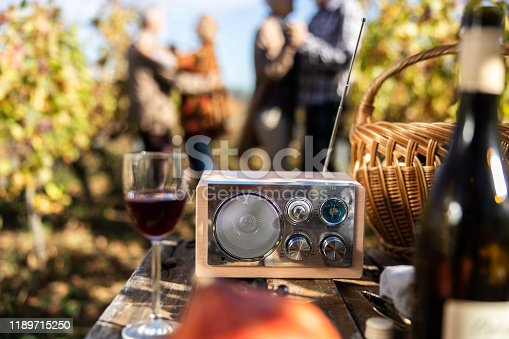 Close up of an analog radio during picnic in vineyard. People in the background are dancing.