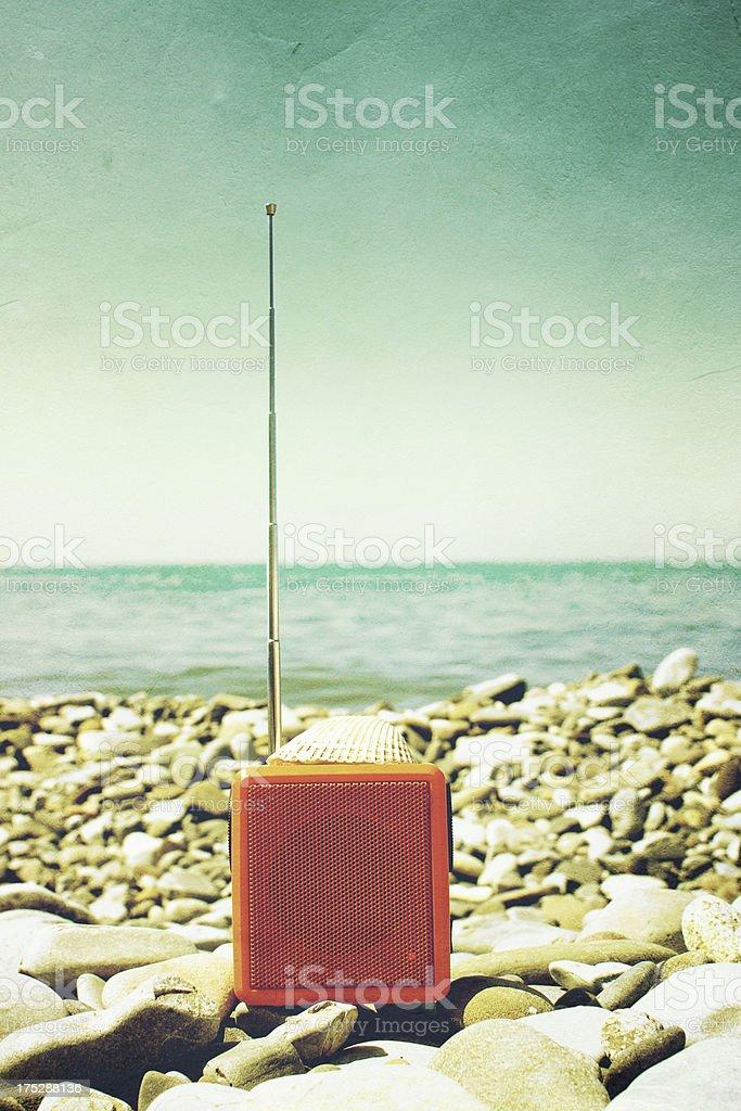 Radio on beach stock photo