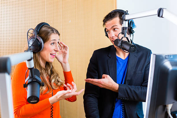 radio presenters in radio station on air - Photo