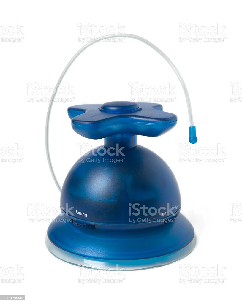 Radio receiver in blue tone with antenna stock photo