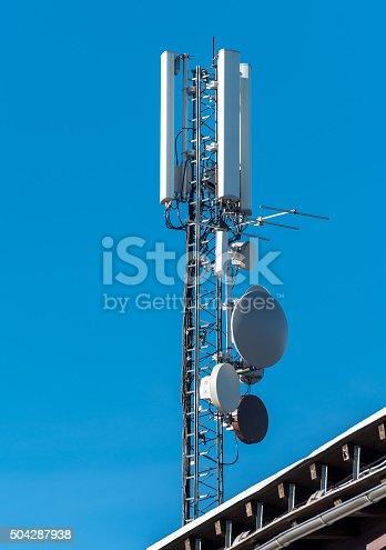 istock GSM radio satellite antenna on a mountain house 504287938