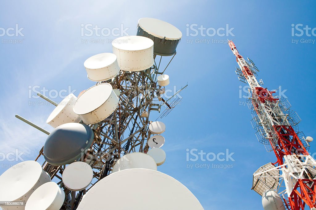 radio station and telecommunication tower stock photo
