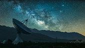Radio telescope against rising Milky Way