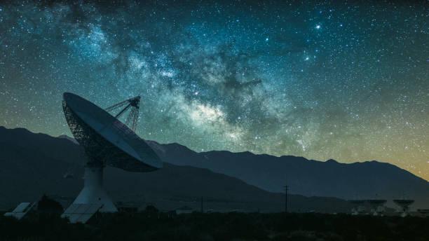 Radio telescope against rising Milky Way stock photo