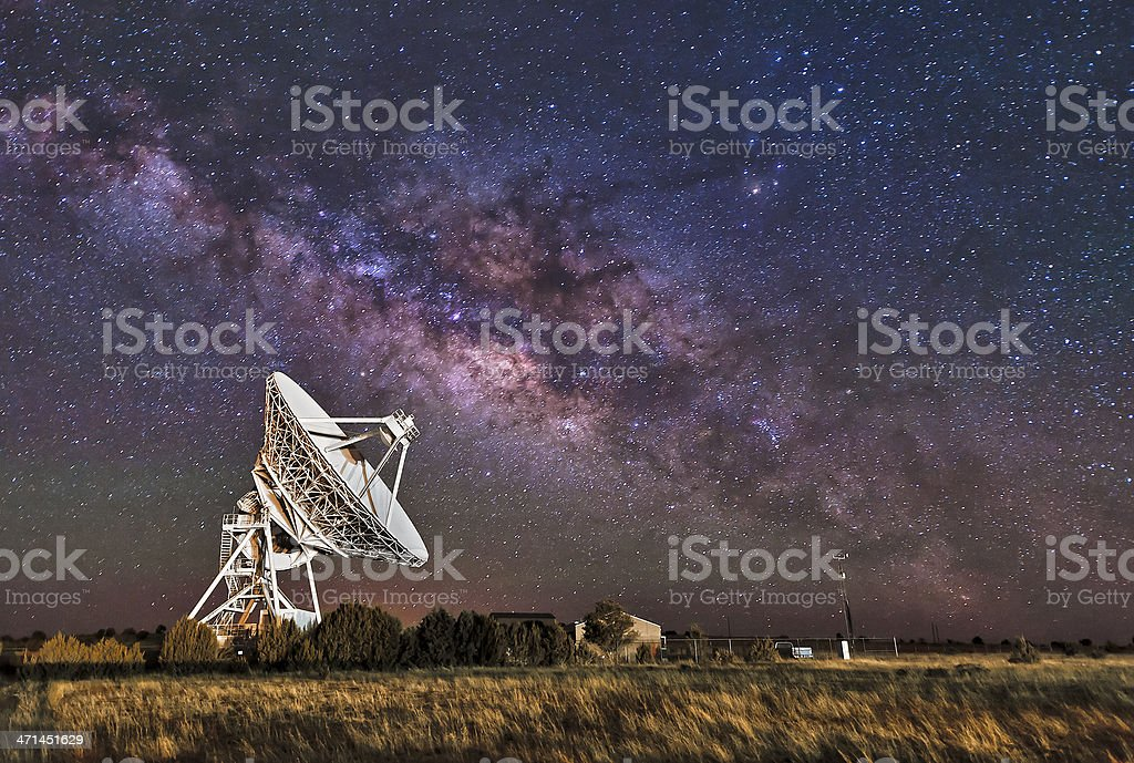 Radio Telescope and Milky Way Galaxy stock photo